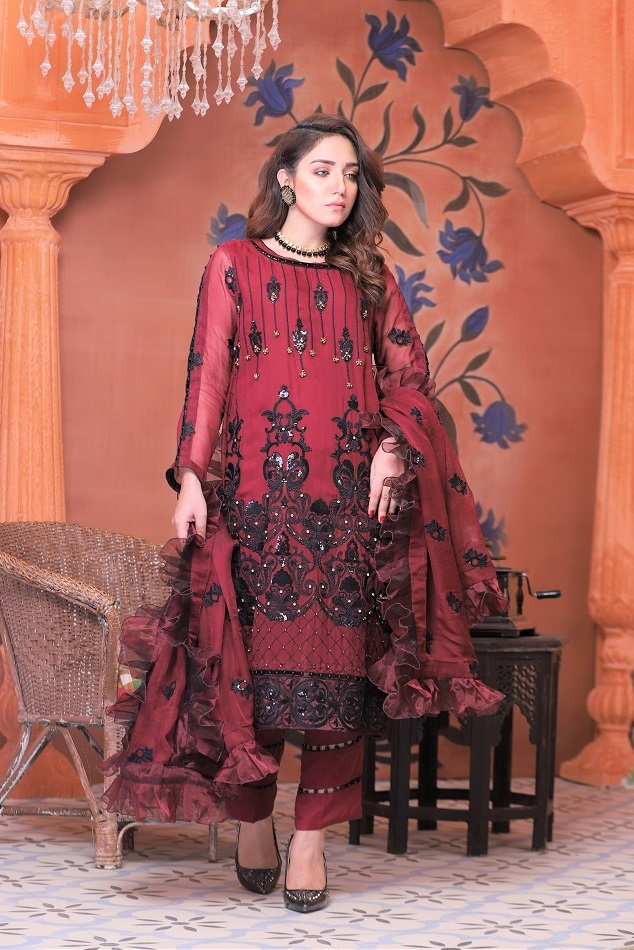 maroon chiffon dresses